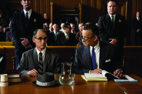 "James Donovan (Tom Hanks), right, works to defend Rudolf Abel (Mark Rylance) in the movie ""Bridge of Spies."" Photo source biography.com"