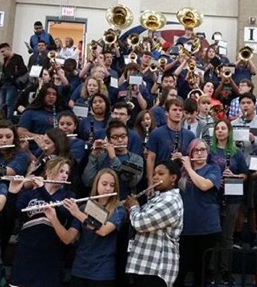The North Star Pep Band plays for the pep rally on Thursday, Nov. 10 in the main gym.  Courtesy photo